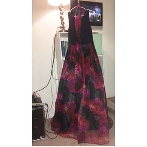 Navy blue & red floral pattern prom dress.